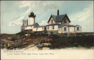 Cape Ann MA Eastern Point Lighthouse c1905 Postcard