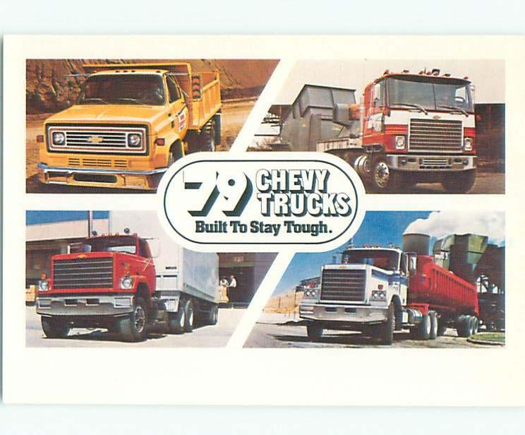 1979 car dealer ad CHEVROLET - 4 INDUSTRIAL TRUCKS ON POSTCARD W6913