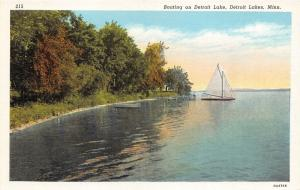 Detroit Lakes Minnesota~Sailboat on Detroit Lake~Trees & Grass along Shore~1930