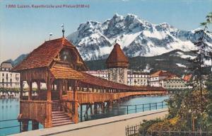 Switzerland Luzern Kapellbruecke und Pilatus
