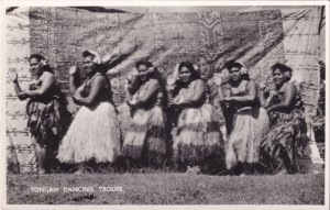 Tongan Dancing Troupe Oceanic Tonga Real Photo Postcard