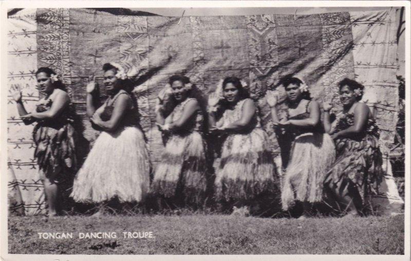 Tongan Dancing Troupe Oceanic Tonga Real Photo Postcard