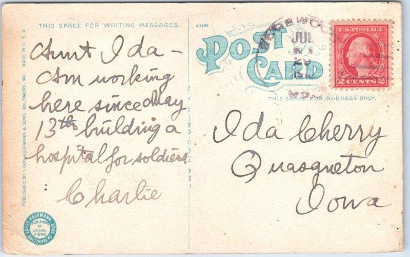 1910 Edgewood, Maryland Postcard RAPID TRANSIT, EDGWOOD Black Man Cattle Cart