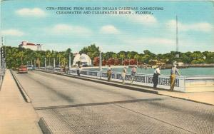 Clearwater Beach Florida~Fishing From Million Dollar Causeway~1940s Postcard