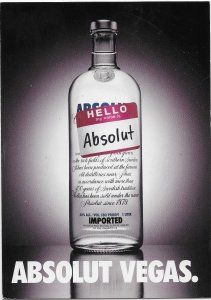 Absolut Vodka Vegas Max Racks card 1998 4 by 6