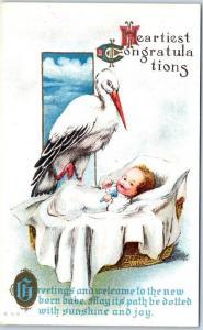 c1910s Birth Announcement Postcard Heartiest Congratulations Stork Baby UNUSED
