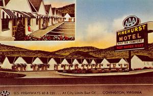 Covington Virginian 1950s Postcard Pinehurst Motel