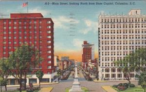 South Carolina Columbia Main Street Looking North From State Capitol 1942 Cur...