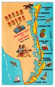 1960s Ocean Drive Map Atlantic City to Cape May, NJ Jersey Shore Map Postcard