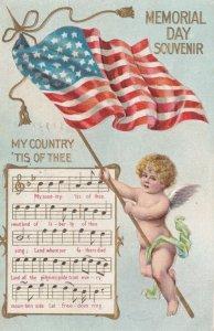 MEMORIAL DAY; Souvenir, Cherub holding U. S. Flag, Music Sheet, PU-1909