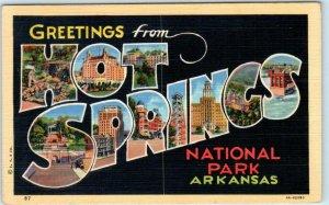Large Letter Linen HOT SPRINGS NATIONAL PARK Arkansas AR Curteich 1940s Postcard