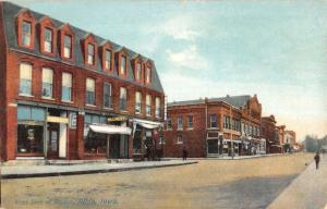 Albia Iowa West Side Square Street Scene Historic Bldgs Antique Postcard K24264