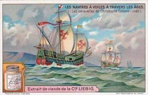 Liebig S1202 Sailing Ships Of Different Times No 1 Ships Of Christopher Colum...