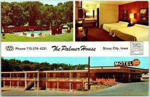 Sioux City, Iowa Postcard THE PALMER HOUSE MOTEL Highway 20 Roadside c1960s