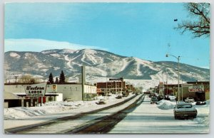 Steamboat Springs CO~Lincoln Street~Western Lodge~Chevron~Yampa Motel~1960s Cars