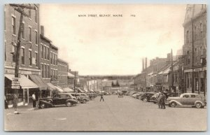 Belfast Maine~Main Street~Dickey Agency~Merrill~Woodys Men's Shop~1930s Cars~B&W