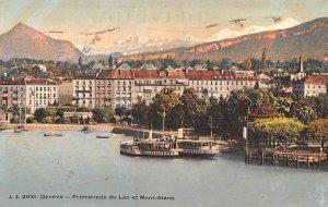 Geneve Promenade du Lac et Mont Blanc Switzerland Unused