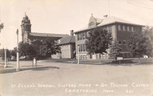 Emmetsburg IA~St Ellen's Catholic School~Sisters Home~St Thomas Church~1929 RPPC