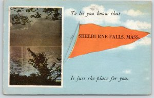 Shelburne Falls Massachusetts~Just the Place for You~Lake~Pennant In Clouds~1924