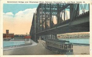 Davenport Iowa Rock Island Government Bridge 1920s Trolley Mississippi 11128