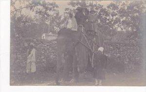 India People Riding On Elephants British Colonial era Real Photo