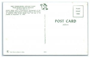 KILL DEVIL HILLS, NC ~ First Power-Driven AIRPLANE FLIGHT c1950s  Postcard