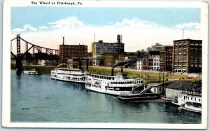 Pittsburgh, Pennsylvania Postcard The Wharf Steamboat Paddlewheel c1920s