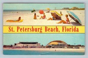 St Petersburg Beach FL, Banner Greetings, Chrome Florida c1968 Postcard