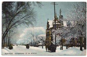 Canada Quebec Montreal Sherbrooke St. in Winter Vintage Postcard ca 1910