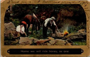 VTG Postcard Valentine Home We Will Ride Horse Theochrome Song Series  1137 1c