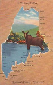 Map Of Maine With Moose