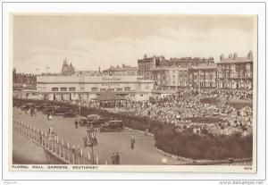 Southport England UK Floral Hall Gardens Vintage Salmon Series Postcard