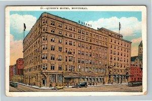 Montreal QC, Queen's Hotel, Automobiles, Vintage Quebec Canada c1931 Postcard