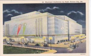 Missouri Kansas City Municipal Auditorium By Night Curteich