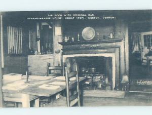Unused 1920's TAP ROOM Weston Vermont VT d1087