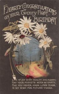 Hearty Congratulations on Your Twenty First Birthday Flowers Postcard
