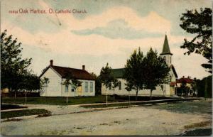 Oak Harbor Ohio~Roman Catholic Church And Small Home (Manse?) 1909 Postcard