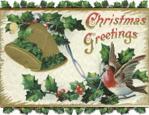 Set of 6 repurposed Christmas Postcards, Snowbird with Ribbon In Beak Gold Bell
