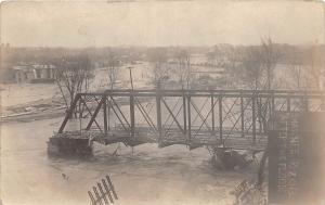 E46/ Piqua Ohio Real Photo RPPC Postcard 1913 Flood Disaster Shawnee Bridge