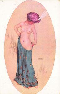 Raphael Kirchner Nude Beautiful Woman Oval Postcard
