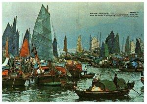 Floating People Castle Peak Bay Hong Kong Postcard N833