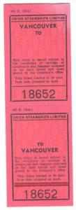 Tickets, Union Steamships Limited, Vancouver To, To Vancouver, Canada, Ticket...