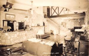 Hollister Missouri~Ye English Inn~Hotel Interior~Lobby~Check In Desk~1939 RPPC