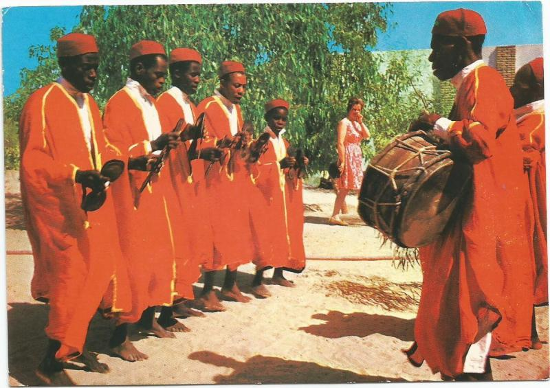 African Men's Music Group Nefta Tunisia Postcard 2 Commemorative Stamps