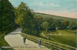 Eastbourne Paradise Drive bicycles & Golf Links postcard