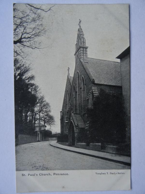 Cornwall PENZANCE St. Paul's Church - Old Postcard by Vaughan T. Paul's Series