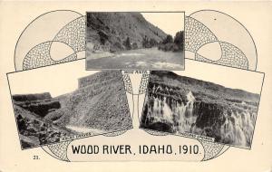 F7/ Wood River Idaho Postcard c1910 Oregon Trail 3View Fancy