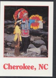 America Postcard - Cherokee Indian Chief & Young Indian Girl Cherokee Indian ...