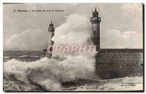 Old Postcard Fecamp La Jetee one day storm