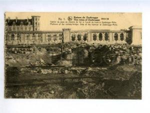 158326 WWI Ruins of Belgium ZEEBRUGGE Platform RAILWAY-BRIDGE